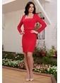 İroni Kare Yaka Mini Elbise Kırmızı